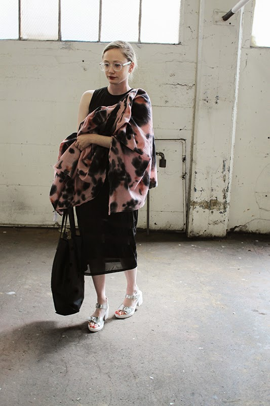 SF Shop Girl in a LE TOTE Dress and Tie Dye Shawl