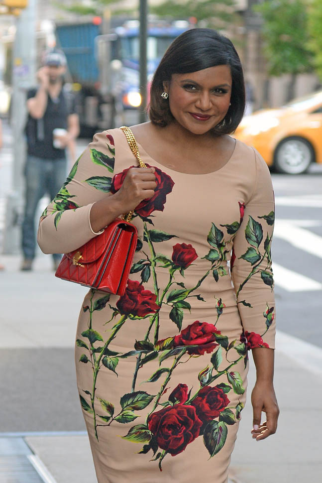 INF - Mindy Kaling Smiles for the cameras while leaving her hotel